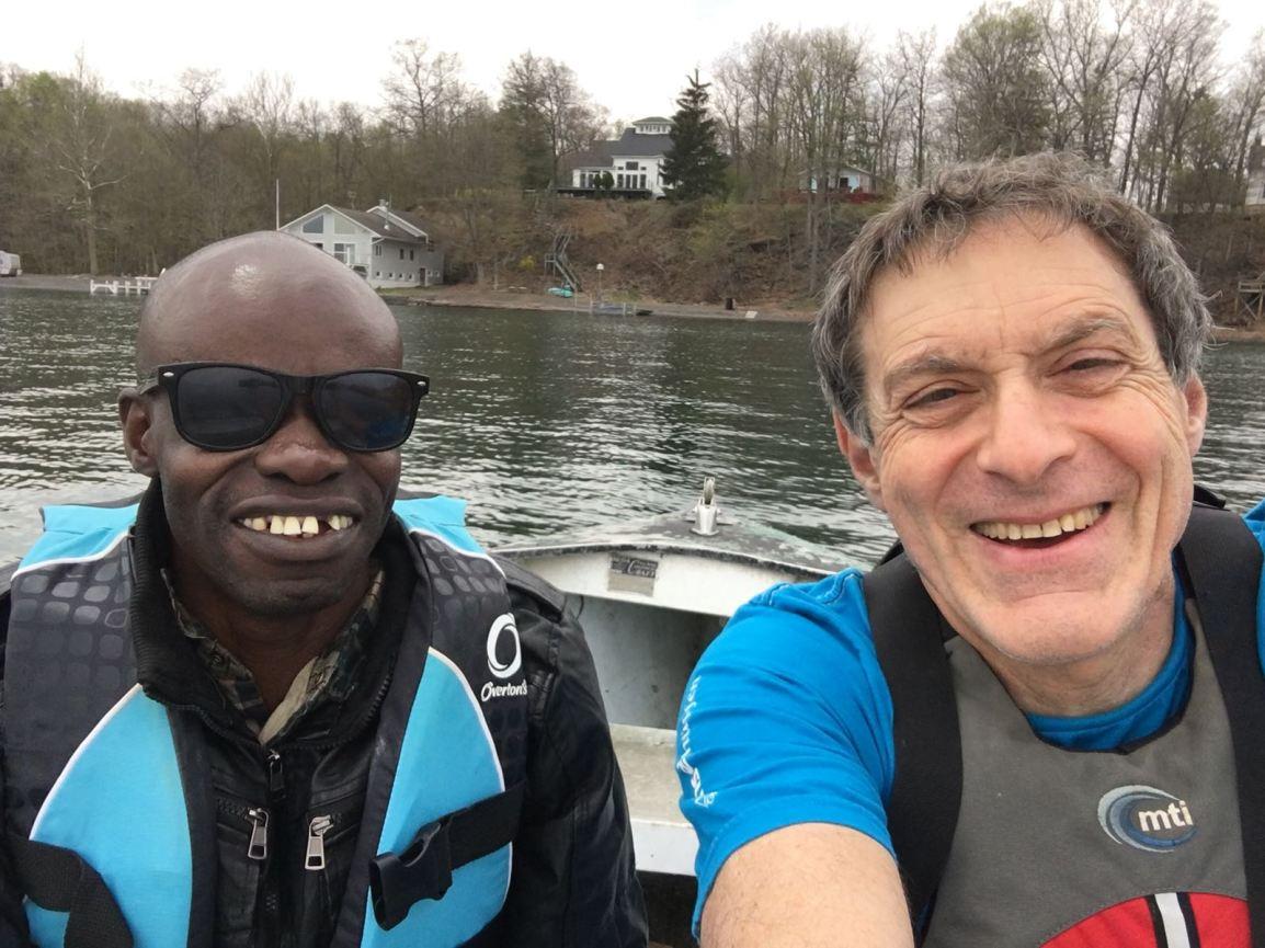 Samuel and Steve boating