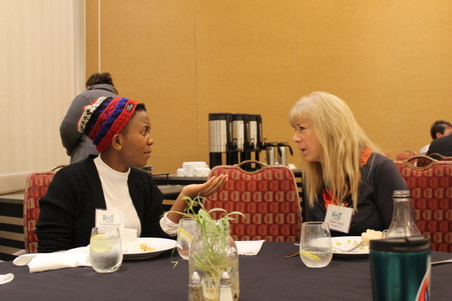 Elizabeth talking with Eileen Casey